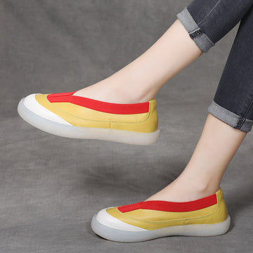Women Spring Summer Casual Color Contrast Leather Shoes
