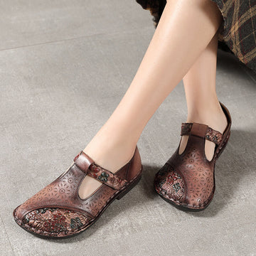 Women Spring Summer Casual Leather Velcro Sandals