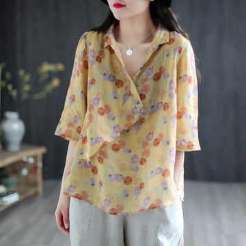 Women Spring Summer Floral Casual T-Shirt