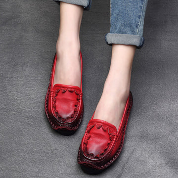 Women Spring Summer Retro Leather Weaving Shoes