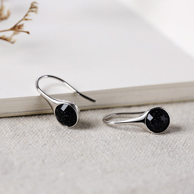 Women Starry Blue Sandstone Silver Earrings