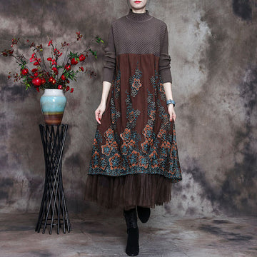 Women Stitching Draped Floral Embroidered Dress