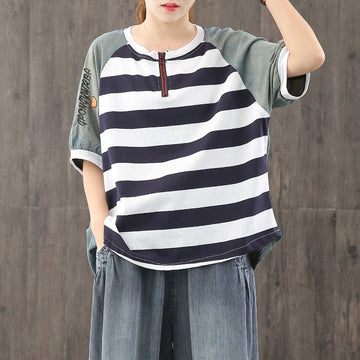 Women Stitching Draped Striped Cotton T-shirt