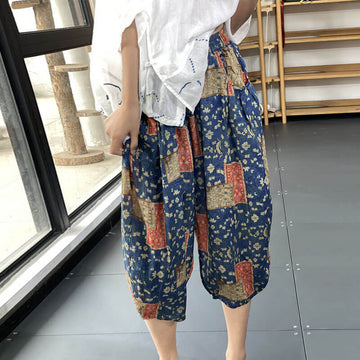Women Stitching Floral Elastic Waist Casual Pocket Pants