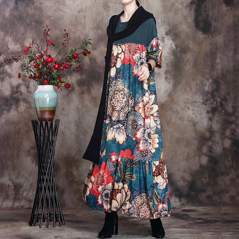 Women Stitching Flower Print Draped Dress