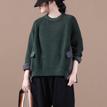 Women Stitching Knitted Sweater Jumper