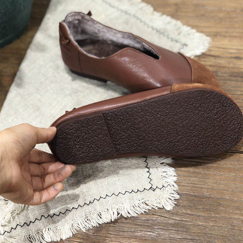 Women Stitching Leather Flat Heel Shoes