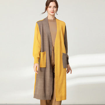 Women Stitching Pocket Knitted Long Coat