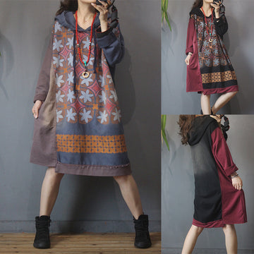 Women Stitching Print Hooded Dress