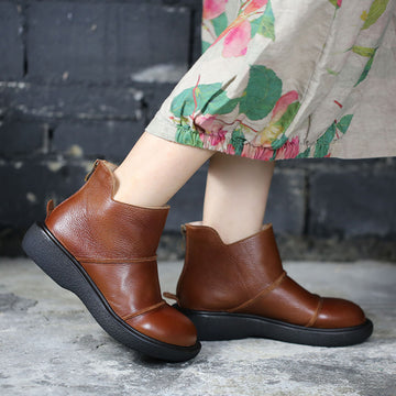 Women Stitching Round-toe Leather Shoes