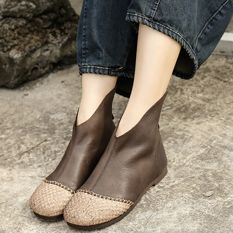 Women Stitching Round-toe Zipper Boots