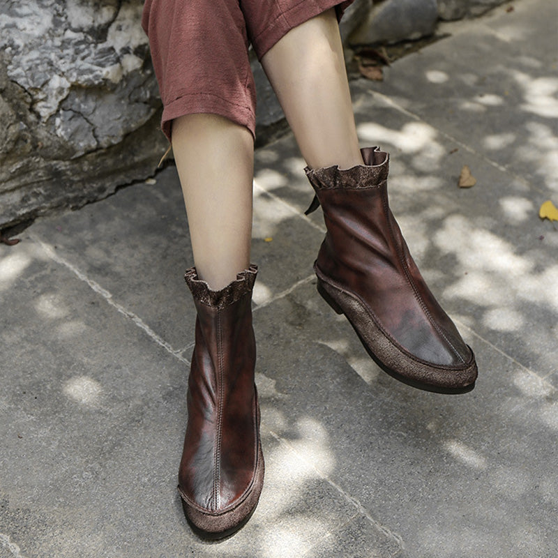 Women Stitching Zipper Leather Boots