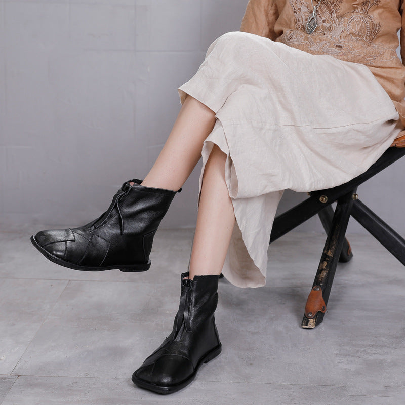 Women Stitching Zipper Leather Flat Boots