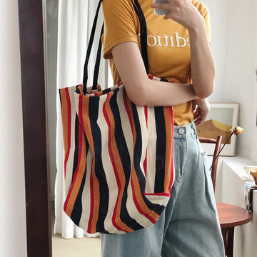 Women Striped Canvas Shoulder Bag