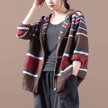 Women Striped Knitted Single Breasted Coat