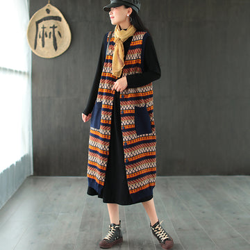 Women Striped Knitted Sleeves Long Coat