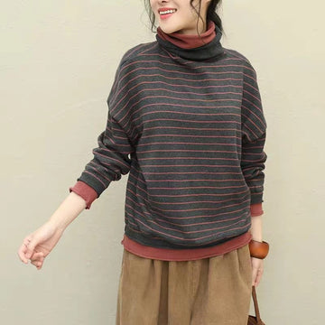 Women Striped Turtleneck Stitching Blouse