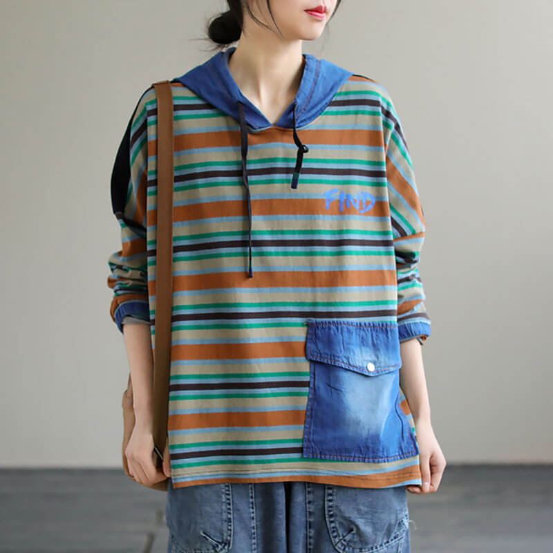 Women Stripes Drawstring Spring Casual Sweatshirt Hoodie