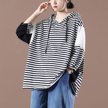 Women Stripes Summer Hooded Drawstring Color Spliced Top