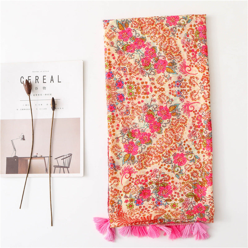 Women Summer Beach Tassel Floral Scarf