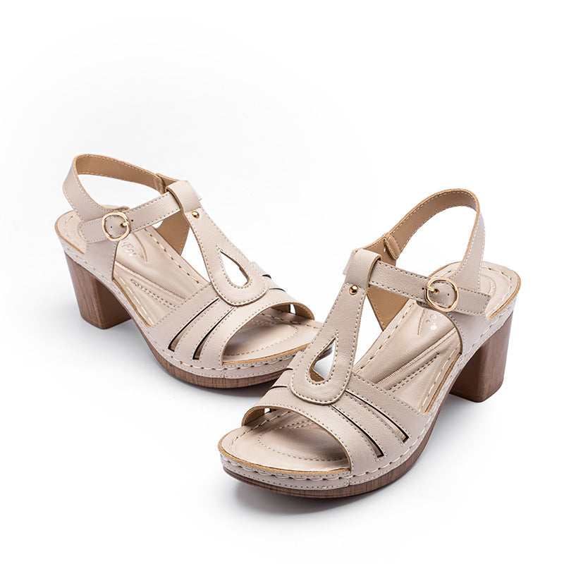 Women Summer Buckle High-heels Sandals