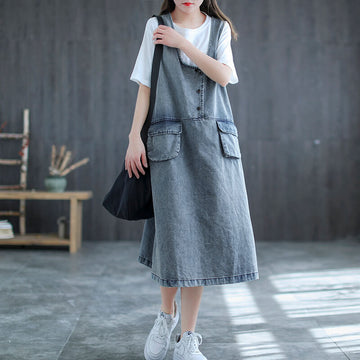 Women Summer Denim Solid Color Pocket Dress