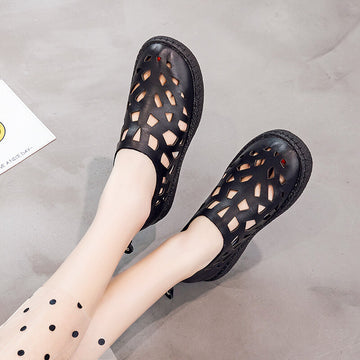 Women Summer Hollow Pure Color Sandals