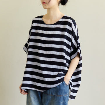 Women Summer Loose Striped Cotton T-shirt
