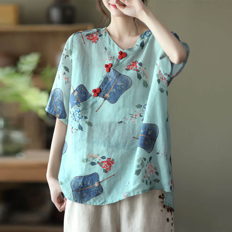 Women Summer V-neck Print Retro Casual T-Shirt