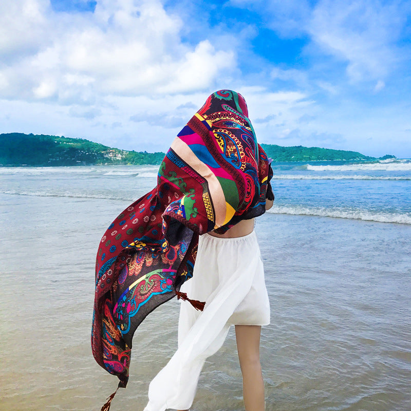 Women Sun Protection Cotton Linen Prints Summer Shawl Scarf