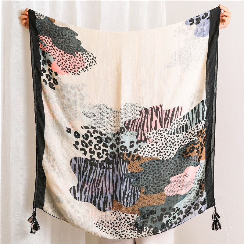 Women Tassel Oil Painting Print Shawl Scarf