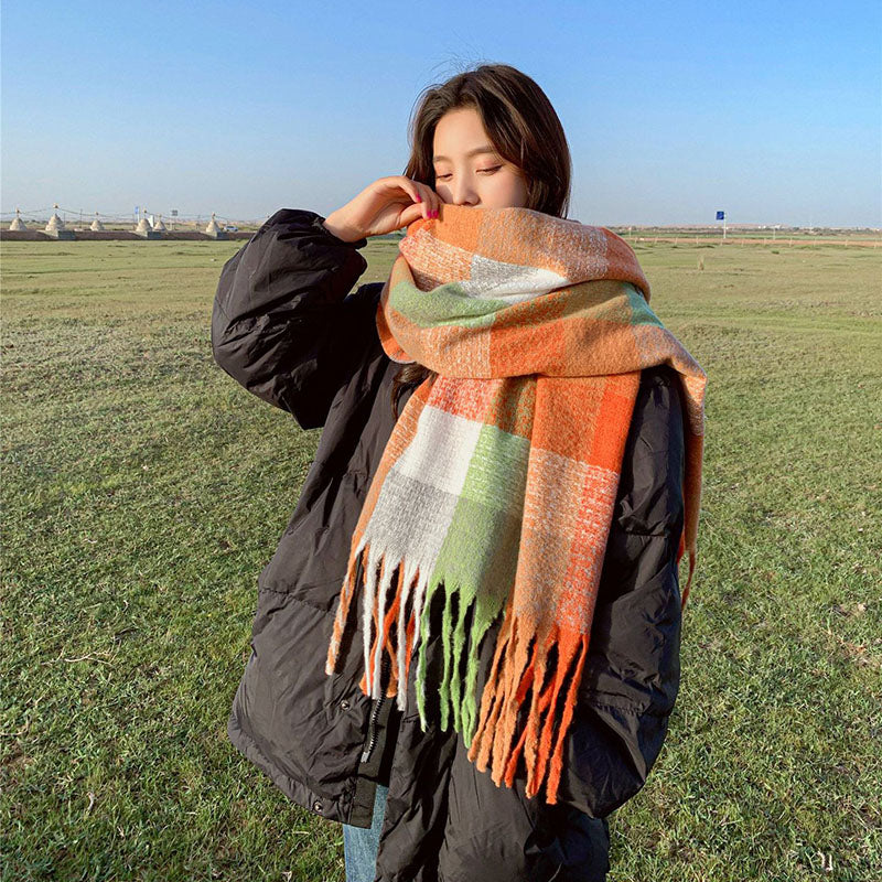 Women Tassel Plaid Color Block Scarf