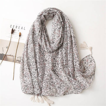 Women Tassel Simple Print Foral Shawl Scarf