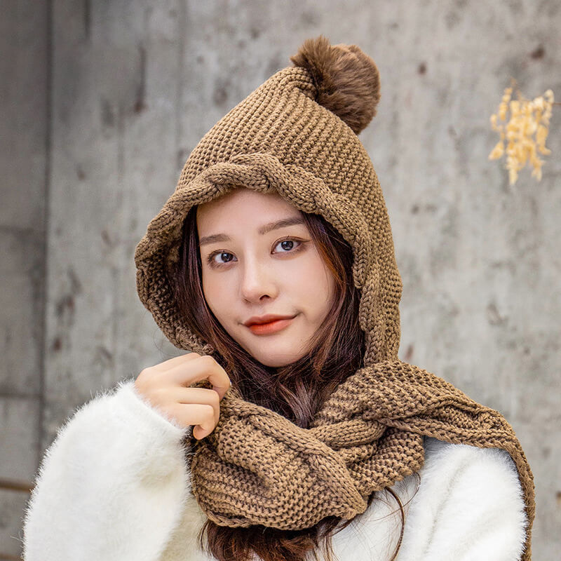 Women Thicken Scarf Knitted Pure Color Warm Hat