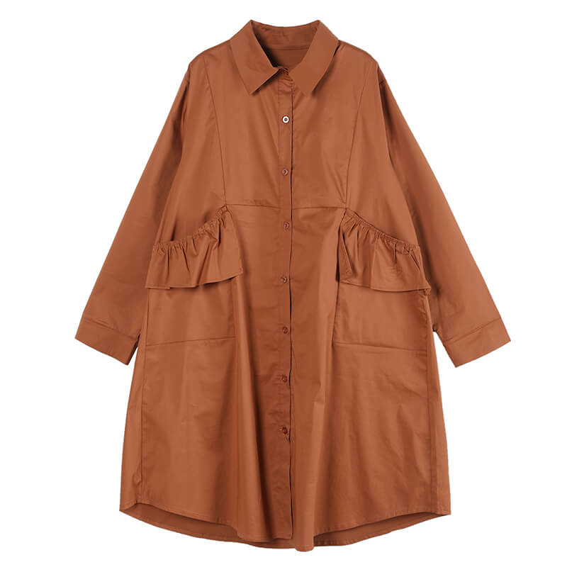 Women Turn Down Collar Pleated Shirt Dress