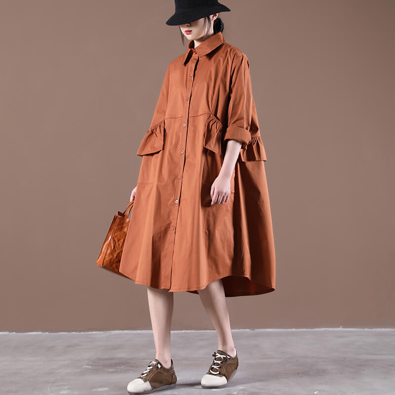 Women Turn Down Collar Pleated Ruffle Fringe Dress