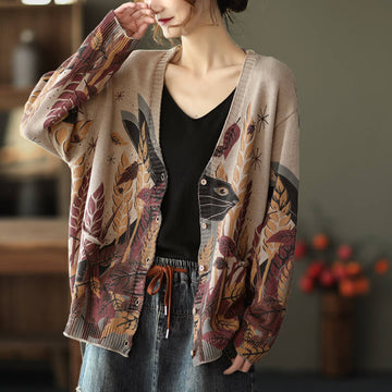 Women V-neck Knitted Floral Print Cardigan