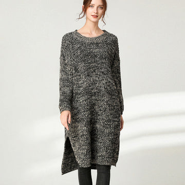 Women Warm Split Hem Knitted Dress