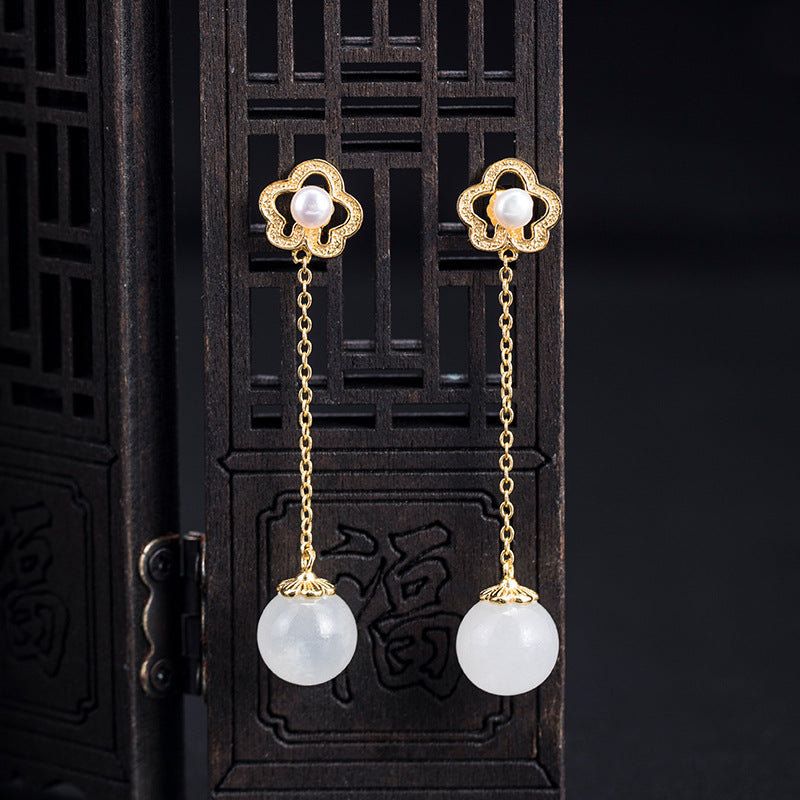 Women White Jade Dangle Silver Earrings