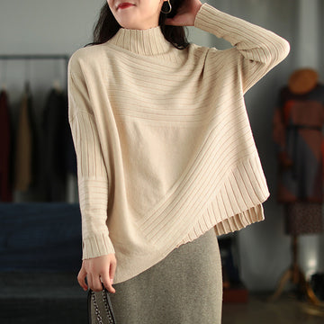 Women Wild Turtleneck Solid Color Sweater