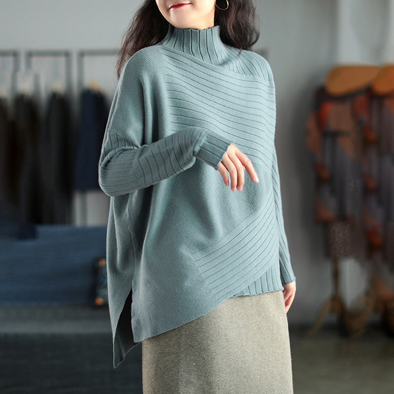 Women Wild Turtleneck Stripe Solid Color Sweater