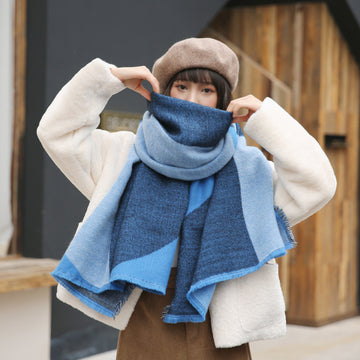 Women Winter Color Contrast Scarf Shawl