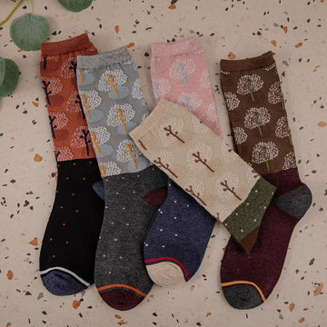 Women Winter Color Stitching Socks(5 Pairs)