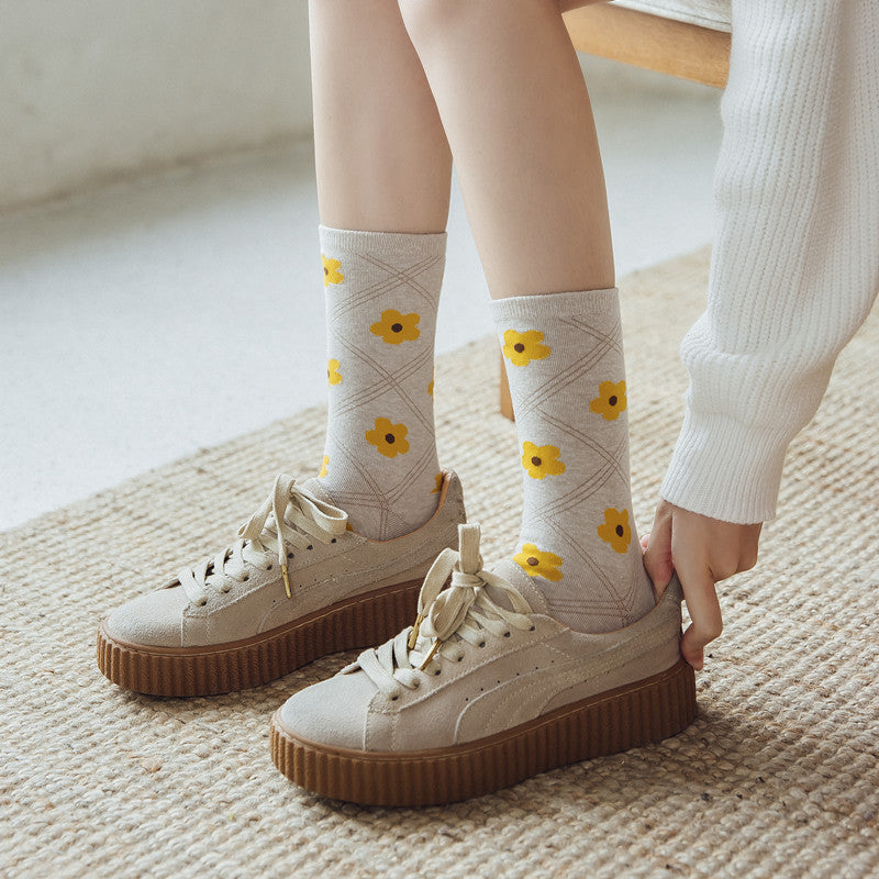 Women Winter Cute Floral Plaid Socks(3 Pairs)