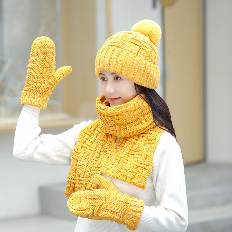 Women Winter Knitted Hat Scarf Gloves Sets