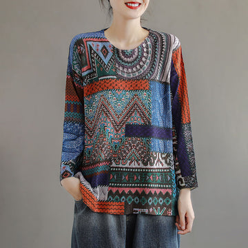 Women Winter Knitted Print Retro Blouse