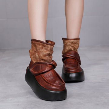 Women Winter Leather Platform Boots