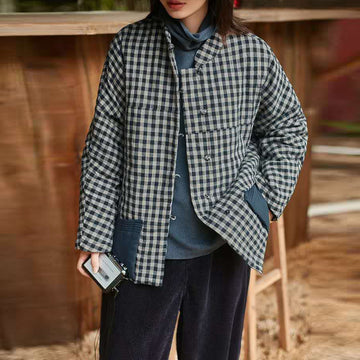 Women Winter Plaid Warm Cotton Coat