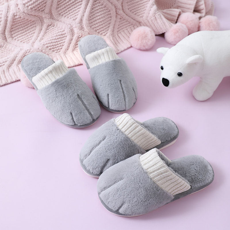 Women Winter Plush Warm Cat Paw Slippers
