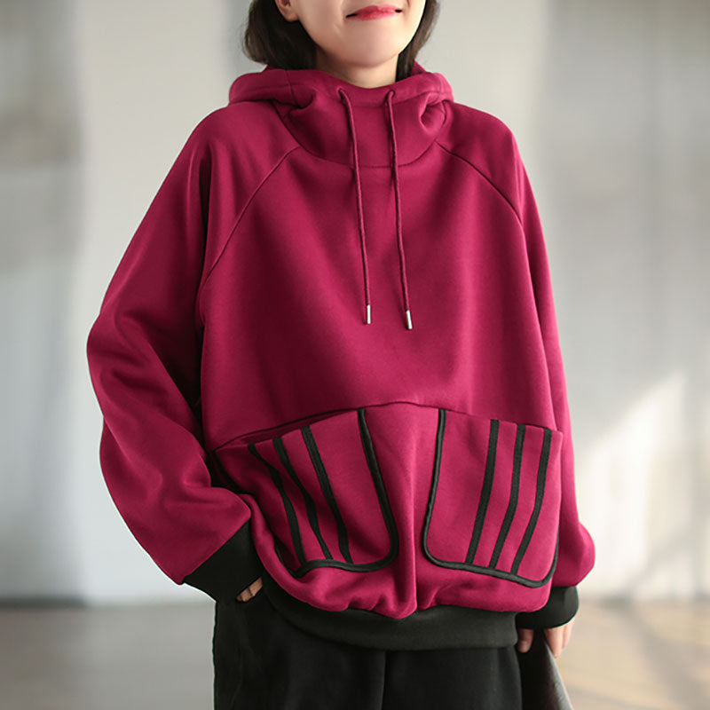 Women Winter Pocket Drawstring Hoodie Shirt